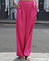 The Drop Pantalón suelto fucsia sedoso de talle alto y pernera ancha para mujer por @leoniehanne, XS