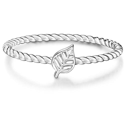 Glanzstücke München Damen-Ring Blatt Sterling Silber - Statement-Ringe mit Symbol Vorsteck-Ring schmal, Silber, Gr. 50 (15.9)