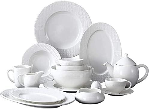 Juego de platos, Conjuntos de vajillas de 48 piezas, conjuntos de cena de cerámica blanca, combinación completa de porcelana con platos, tazones, tazas, tazas de café y tetera, caja fuerte de microond