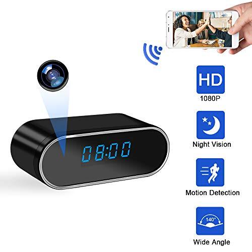 Cámara Espía Oculta UYIKOO Cámara Reloj WiFi HD 1080P Mini Cámara Espía para la Seguridad de la Casa Cámara Nodriza con Lentes de 140 Grados Soporte de Visión Nocturna y Detección de Movimiento