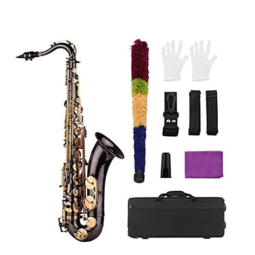 Saxofón BB Tenor Saxofon Sax Sax Brass Black Nickle Plated Golden Keys Instrumento Woodwind con Funda De Transporte Instrumento Viento