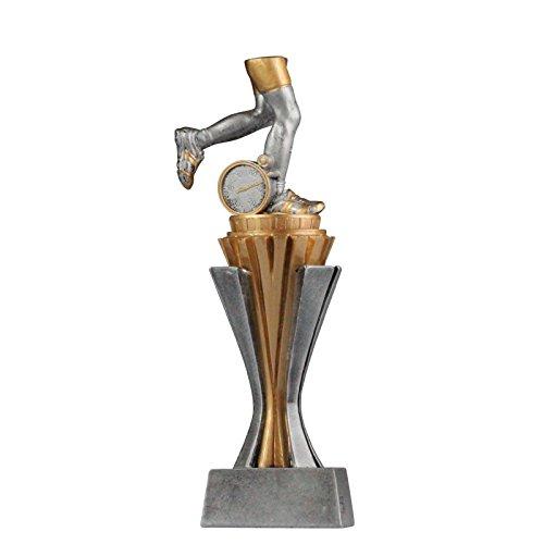 Pokal Trophäe Laufen/Laufsport/Marathon mit Sockel in Gold/Silber ca. 17 cm hoch Größe S
