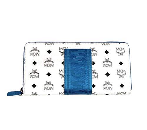 MCM Women's White/Blue Coated Canvas Continental Zip Around Wallet MXL9SVI89WT001