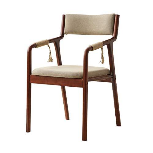 CSD Holz Dining Chair Sessel mit Hanfseil Armlehne und Rücken gepolstert Gepolsterte Sitz Tragbares for Kindererwachsene Küche Vintage Modern, 4 Farben, Farbe: Grau (Color : Beige)