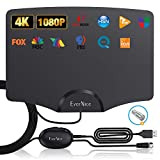 TV Antenna Indoor Up to 120 Miles by EverNice, Newest Digital HDTV Antenna Switch Amplifier Signal Booster for Smart TV, Support 4K 1080P HD Free Local Channels, 14ft Coax HDTV Cable, Black
