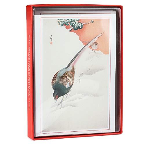 Japanische Weihnachtskarten, Fasan in Schneebox, 12 Stück