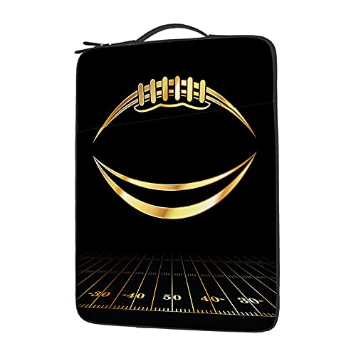 WONDERTIFY an Gold Icon American Football Laptop Case Football Field Protective Carrying Bag Sleeve with Handle for Men Women Business Travel 15.6 Inch