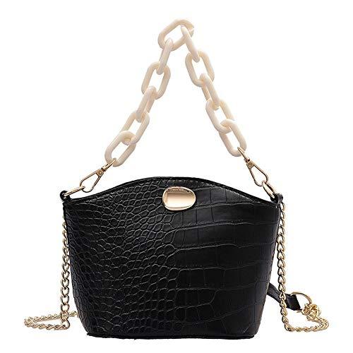 Frauentasche Leichte Und Vielseitige Tägliche Umhängetasche Für Damen Damen Schulter Umhängetasche Kette Mode Einfarbig Mini Handtasche Schwarz