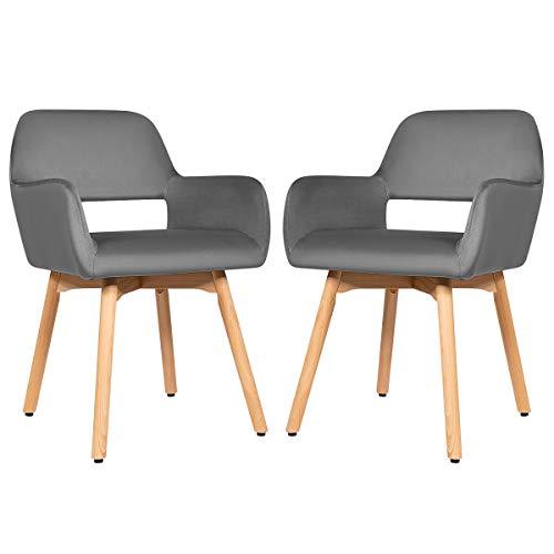 COSTWAY Set di 2 Sedie per Sala da Pranzo Moderne, Sedia con Bracciolo, Seduta e Schienale Imbottiti (Grigio Scuro)