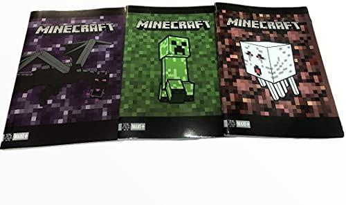 Juego de 12 cuadernos compatible con Minecraft Pixel Rayas C con márgen, 100 g + 30 hojas 4a y 5ª Elementar, formato A4