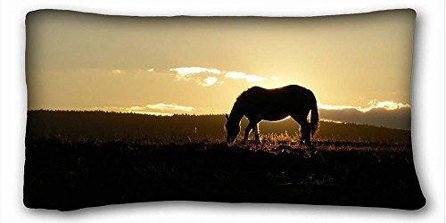 Generic Gepersonaliseerd (Dierlijk Paard) Kussensloop Hoes Eén Zijde Gedrukt 20x36 Inches geschikt voor Queen-bed PC-Rood-18460