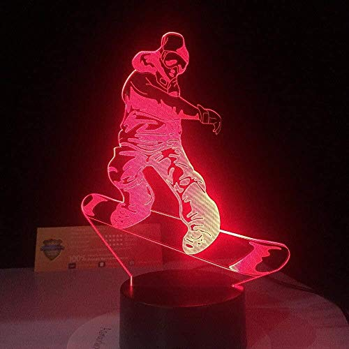 3D visual3D Snowboarden Illusie Led Bureau Tafellamp 7 Kleur Touch Lamp Art Sculpture Lights Verjaardagscadeau voor Kids Slaapkamer Decor Kerstmis HalloweenNight Light