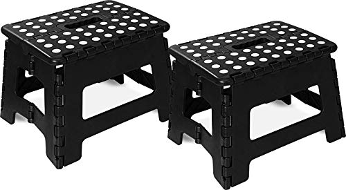 Utopia Home Foldable Step Stool for Kids  11 Inches Wide and 8 Inches Tall  Holds Up to 300 lbs  Lightweight Plastic Design Black Pack of 2