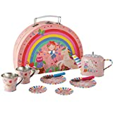 Floss & Rock 40P3571 Rainbow Fairy Tin Tea Set in Rainbow Shaped Box, 10-Piece Set