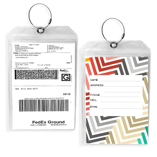 Golf Luggage Tag - Set of 2 Bag Tags Set Extra Large 9' x 6' - Plastic Waterproof Zipper Pouch - PVC Baggage Tag Sleeve for Travel & Shipping Golf Bag - Sealable Personalized Ship Sticks Insert