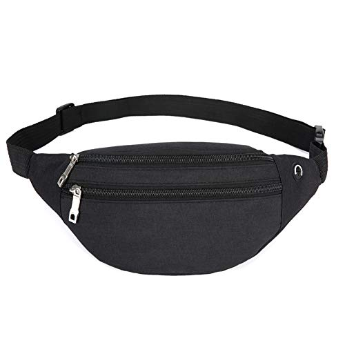 Waist Pack Bag for Men&Women - Waterproof Fanny Pack with Adjustable Strap for Workout Traveling Casual Running. (Black-02)