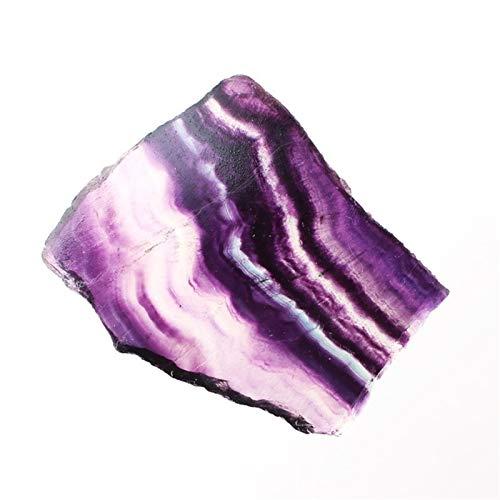 NBKLSD 1Pc Natur bunter Regenbogen-Fluorit Scheibe hängendes Loch Mineral Specimen Stein Reiki Geschenk Home Decor poliert (Color : Fluorite Slice, Size : 20 40g)