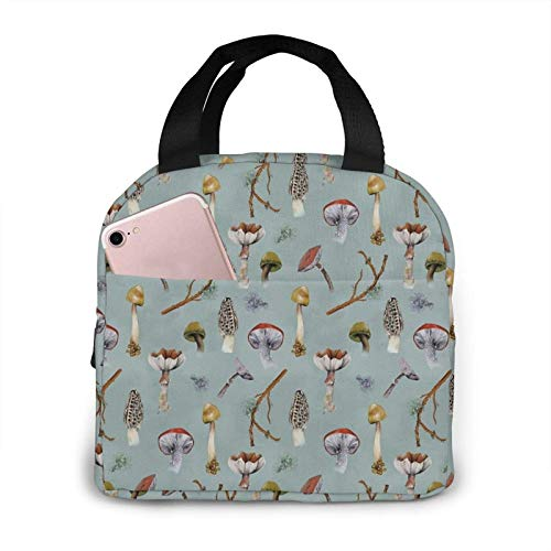 Mushroom Forest Collecting Party Insulated Lunch Bags for Women Cooler Tote Bag with Front Pocket Lunch Box Reusable Lunch Bag for Men Adults Girls Work Hiking Picnic