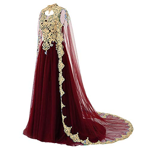 Gold Lace Vintage Long Prom Evening Dress Wedding Gown with Cape Burgundy US 2