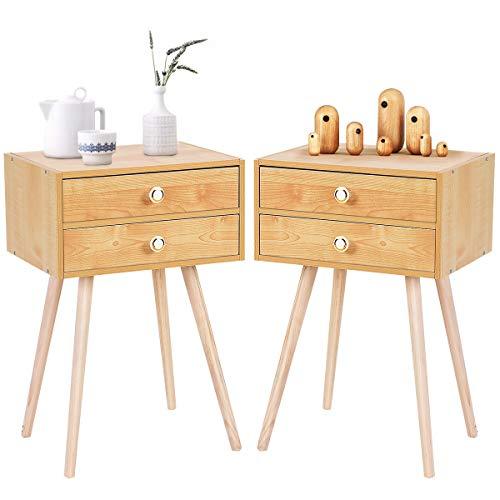 RELAX4LIFE Nachttisch mit 2 Schubladen, Nachtschrank aus Holz, Beistelltisch für Schlafzimmer und Wohnzimmer, Nachtkommode Beistellschrank Flurtisch Telefontisch (Natur-40 x 30 x 60,5 cm)