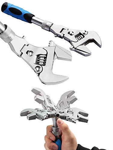 DADEA Llave ajustable Flexhead de 10 pulgadas, máquina rápida de trinquete plegable cinco en uno para reparar agua, electricidad, aire acondicionado de baño, con cabezal giratorio de 180 grados