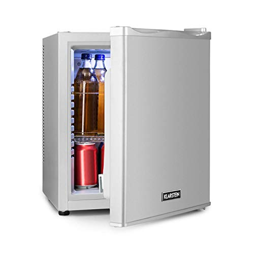Klarstein Happy Hour - Minibar, Mininevera, nevera para bebidas, nevera de compresor, temperatura de 5 a 15 °C, eficiencia energética: A, silencioso: 0 dB, luz LED, 25 L de volumen, plateado