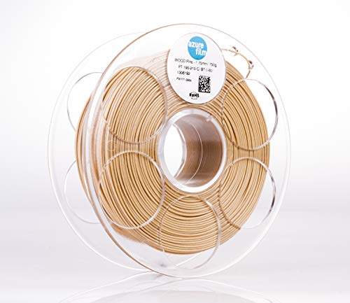 AZUREFILM Wood Pine Professional 3D Printer Filament 1.75 mm - Must Have Printing Accessories for Bringing Your Ideas to Life - High Dimensional Accuracy +/- 0.02 mm, 750g Spool - No Bubbles or Jams