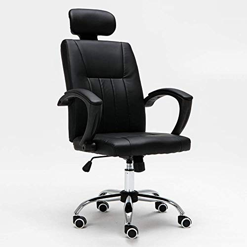 Game Chair Office Chair Game Chair Computer Chair - Home Office Rotary Lift Chair, with Headrest and Steel Feet Bow-Shaped Chair Swivel Chair -36222Q1G1F (Color : BLACK)