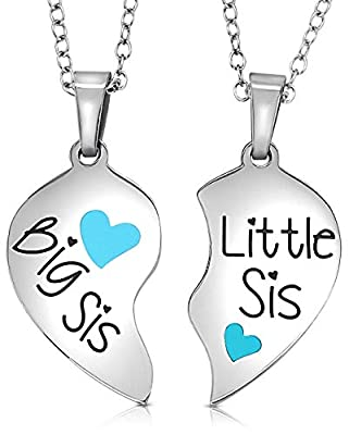 Girls, Teens, Tweens Big Sis & Lil Sis Gifts Easter Basket Fillers/Stuffers Jewelry Heart Necklace Set, 2 Sister Necklaces for Teens & Girls Big & Little Sisters Love Jewelry Presents Daughters, Granddaughters, Twins, Granddaughter Birthday Presents (Turq