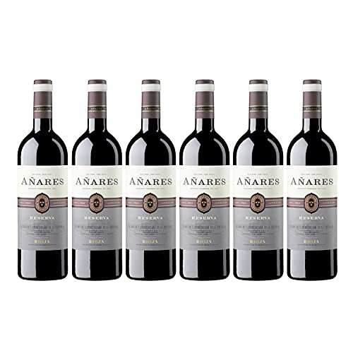 Añares - Vino Tinto Reserva, La Rioja, Vino con Esencia de Viana de Bodegas Olarra, Pack de 6 Botellas de 750 ml