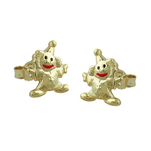 Kinderschmuck Ohrringe Ohrstecker Clown Harlekin 375 Gold Echtgold Ohrschmuck