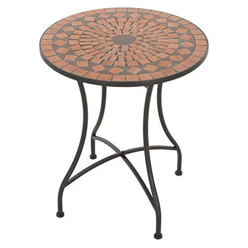 MACOShopde by MACO Möbel Mosaik Gartentisch Mosaiktisch AVA rund ø 60 Balkon/Terrassen-Tisch mit einzigartigem Muster Mehrfarbig Stahl