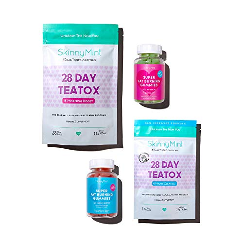 SkinnyMint Detox Bundle- Super Fat Burning Gummies (120 Gummies) and 28 Day Ultimate Teatox (42 Tea Bags). Detox & Curb Cravings.