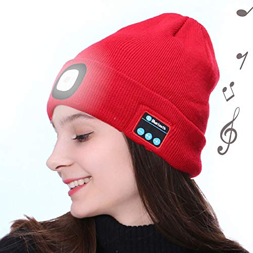 OHYGGE Bluetooth Unisex 4 LED Knitted Flashlight Beanie Hat/Cap,Built-in Stereo Speakers Lighted Knit Cap for Hunting, Camping, Grilling, Auto Repair, Jogging, Walking, Running,Red