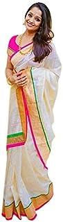 Pramukh Suppliers Chanderi Cotton Saree (Zari-Pink_Off White)