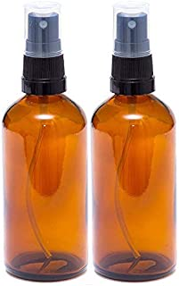 Pack of 2 100ml Amber Glass Bottles with Black Atomiser Sprays