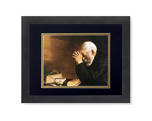 Daily Bread Man Praying at Table Grace Religious Wall Picture B/G Matted 13x16 Framed Art Print