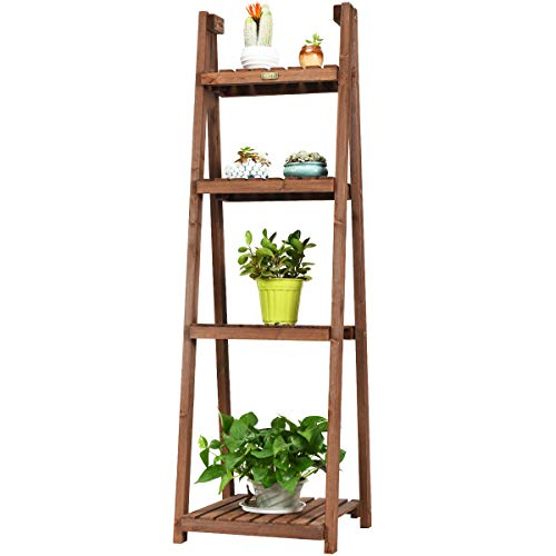 "Giantex Folding Wooden Plant Stand, 4-Tier Flower Pot Holder, Foldable Plants Display Shelf Rack, Free Standing Ladder Plant Shelf for Patio Garden Indoor Outdoor (18""X18.5""X60""(4-Tier))"