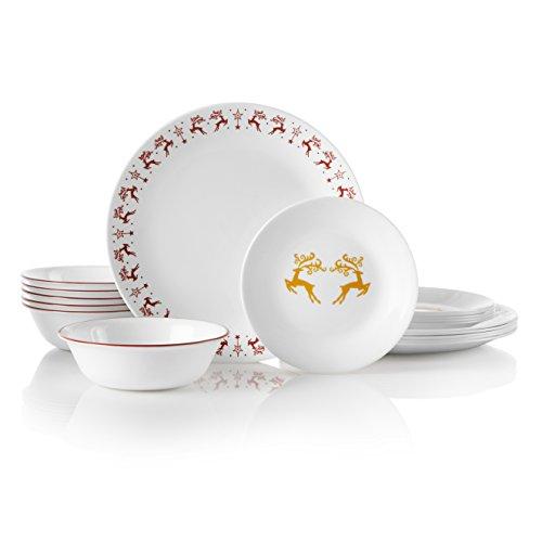 Corelle Service for 6, Chip Resistant, Dancer Prancer dinnerware sets, 18-piece