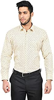 The Mods Men's Formal Cream Color Printed Shirt
