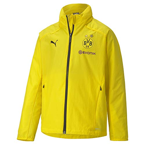 PUMA BVB Rain Jacket Jr Regenjacke, Cyber Yellow Black, 116