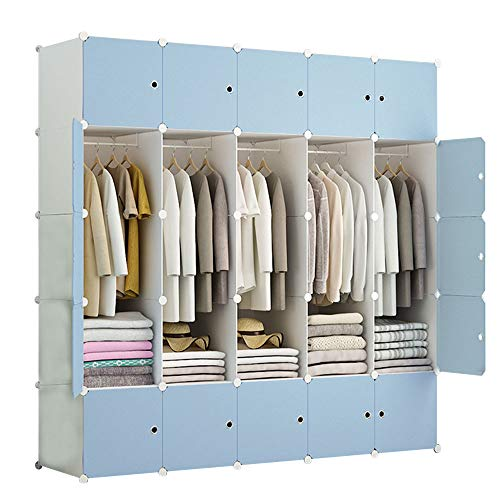 Find Discount Wardrobe Vertical, Portable Home, Simple Plastic, Detachable Assembly, Dormitory, Blue...