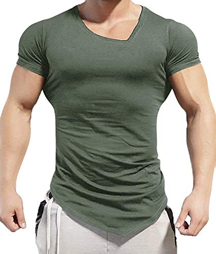 COOFANDY Men's Gym Workout T Shirt Short Sleeve Muscle Cut Bodybuilding Training Fitness Tee Tops (XX-Large, Olive Green1)