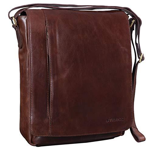 STILORD \'Paul\' Umhängetasche Herren Leder Hochformat Messenger Bag im Vintage Design Ledertasche für 13,3 Zoll MacBook iPad DIN A4 Herrentasche Echtleder, Farbe:schokoladen - braun