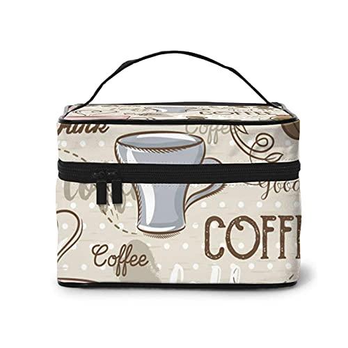 DJNGN Vintage Espressomaschine Cupcakes Bohnen Make-up Tasche Tragbare Reise Kosmetiktasche Make-up Fall Organizer Aufbewahrungsbeutel Taschen Box