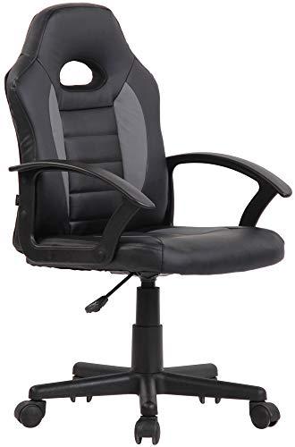 CLP Kinder Bürostuhl Femes I Höhenverstellbarer Schreibtischstuhl Mit Armlehnen I Drehstuhl Mit Leichtlaufrollen, Farbe:schwarz/grau
