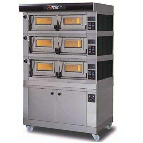 MORETTI FORNI P120 B3 Electric Pizza Oven P120 49'' x 34'' x 7'' (Chamber) 208/240/60/3-3 Decks with tray guide base