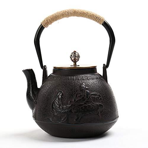 Teiera in Ghisa Giapponese,teiera in Ghisa Teiera in Ghisa Smaltata 1.2L, Hwagui-teiera in Ghisa Camino Teiera GhisaTè per Bulk tè E Bustine di tè, tè Bianco, tè alla Frutta in Legno