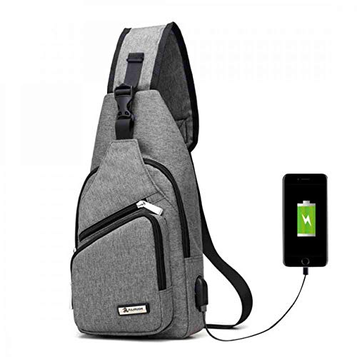 Sling Bag with USB Charging Port Crossbody Canvas Chest Bag for Men Women Lightweight Hiking Travel Backpack Daypack (Light gray)(Size: One Size)