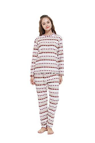 PimpamTex – Pijama Coralina de Mujer Otoño-Invierno de Manga Larga Polar Calentito con Tacto Suave – (L, Elena)